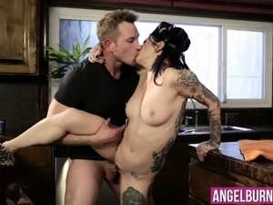 Attractive housewife Joanna Angel with tattooed body loves to have hard anal...