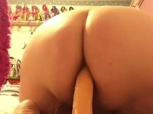 BBW getting a dildo in the ass