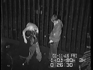 Security cam catches a horny bitch taking on two dudes at n