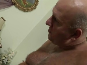Bald old man fucks brunette