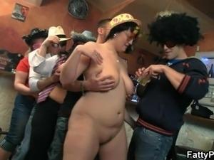 Three bbw strip for guys in the bar