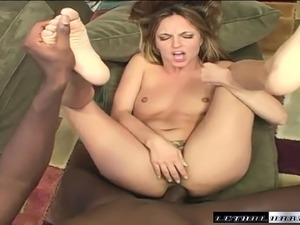 Slutty blonde Lexi Love has a black guy punishing her tight anal hole