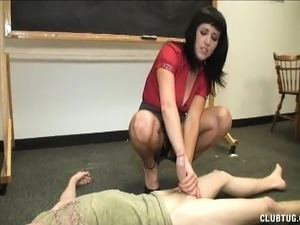 Naughty brunette teacher with big breasts and sexy legs strokes a dick