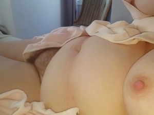laiyng in bed i open her bathrobe reveal her hairy bush