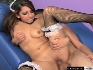 Sexy brunette maid bounces on a stiff dick poking through a tabletop hole