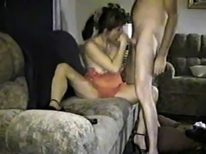 Naughty brunette wife with saggy boobs engages in hot cucko