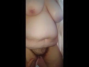 hairy pussy, big tits, rubs her hairy ass on my cock