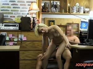 Blonde babe pounded by nasty pawn dude at the pawnshop