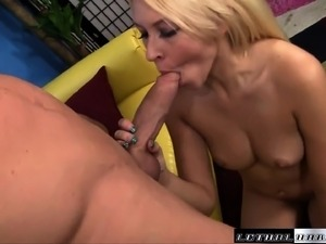 Lusty young blonde takes a fat cock into her mouth and shaved pussy