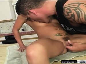 Sexy slender Lexi Love getting fucked by Dick Delaware in the kitchen