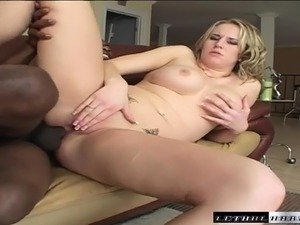 Busty young blonde Cassidy Blue deepthroats and fucks Tee Reel's big black cock
