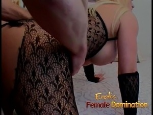 Hot blonde fucks her slave after he drilled her first