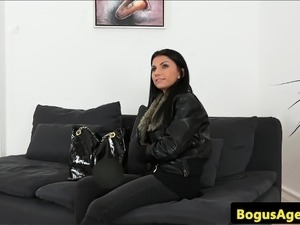 Euro casting babe doggystyled after interview