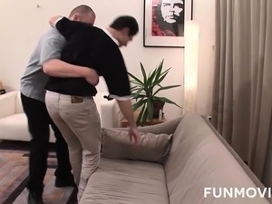 Skinny German girl pleases two horny guys