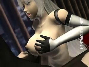 Blondie 3D anime chick gets boobs fucked