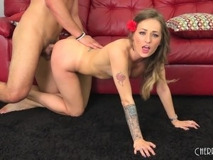 Sexy slender blonde beauty getting pounded doggy style and facialized