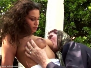 Very old grandma asslicked and fucked by young girl