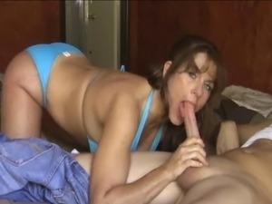 Big Tits  In Blue Bikini Sucking and Jerking Cock For Cum