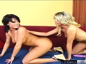 Horny bitches Marlie Moore and Devi Emmerson get naked for some hot dildo play