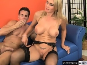 Horny blonde mom with big tits tongues a guy's ass and fucks his dick