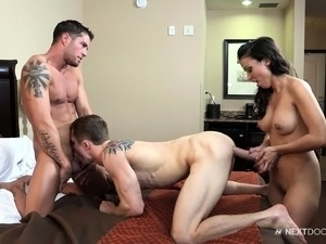 Two tattooed studs and a hot brunette stuff all their holes in a hot bisexual...