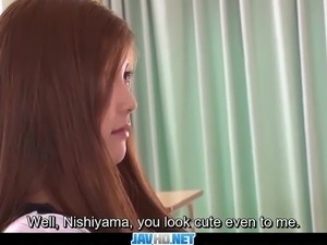 Subtitles - Asian teen Nozomi Nishiyama sucking and fucking