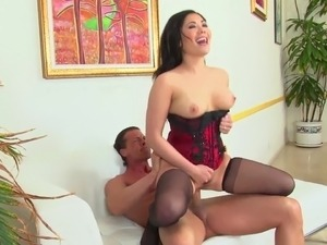 London fucking in a red corset and stockings