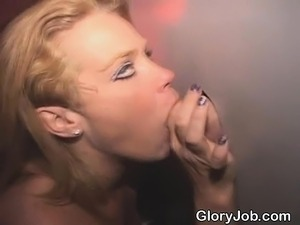 Average Looking Blonde Housewife Sucking At Glory Hole