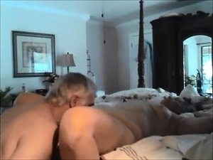 Granny and grandpa are getting it on as he eats her before