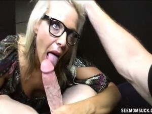 Wild blonde milf with glasses Mrs Riley delivers an impressive blowjob