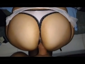 Doggstyle fuck and cum on pretty thong and ass
