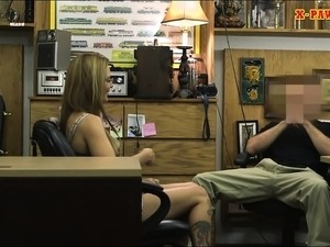 Small tits babe with glasses fucked hard by nasty pawn guy