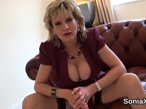 Adulterous british mature lady sonia shows off her huge pupp