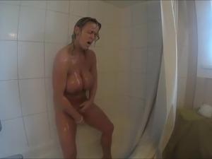 Blond milf in shower