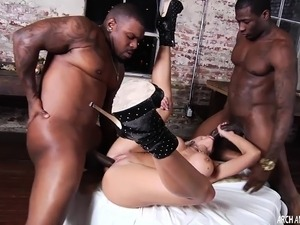 Nina Elle in a hard interracial threeway