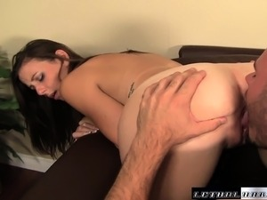 Beautiful brunette schoolgirl with a superb ass fucks her hung teacher