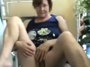 While she's consuming java nana showing her bushy cunt