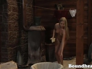 Blonde slave prepares her body for mistress