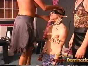 Kinky stud enjoys getting spanked by two hot raunchy bitches