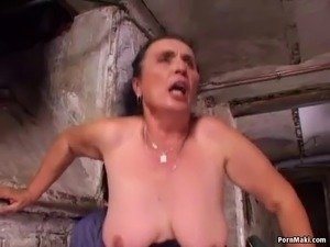 Mom gets her pussy and ass fucked in the basement Real-granny-porn, Grannies,...
