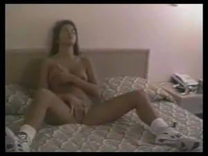 Sexy brunette girl having orgasm