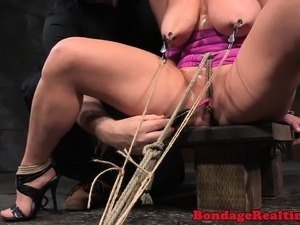 Crotchroped busty sub cuffed and restrained