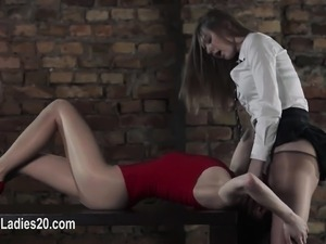 sweet lesbians fucking with strapon