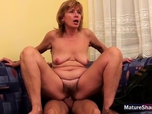 Old hairy lady sucks off huge young cock