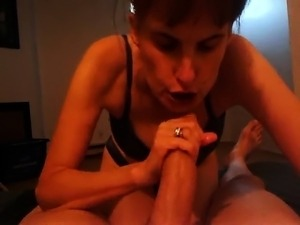 Horny wife with big natural tits works her mouth on a long