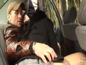 Chubby bbw french slut sodomized in 3way with oldman outdoor