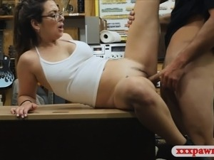 Lovely babe with glasses gets pounded in the pawnshop