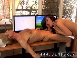 Old man fucks hot girl Anna has a cleaning job at a local co