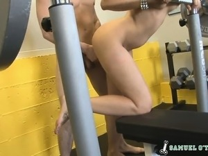 Delicious brunette goes to the gym and fucks a horny stallion