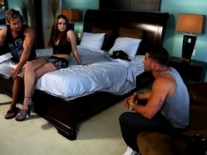 Long-haired beauty gets bent over and fucked in this crazy threesome